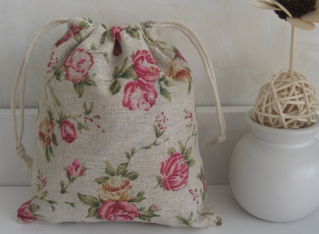 5pcs/lot Linen Handcraft Fabric Shabby Chic Pink Floral Dots Small Storage  Bag Jewellery Gift