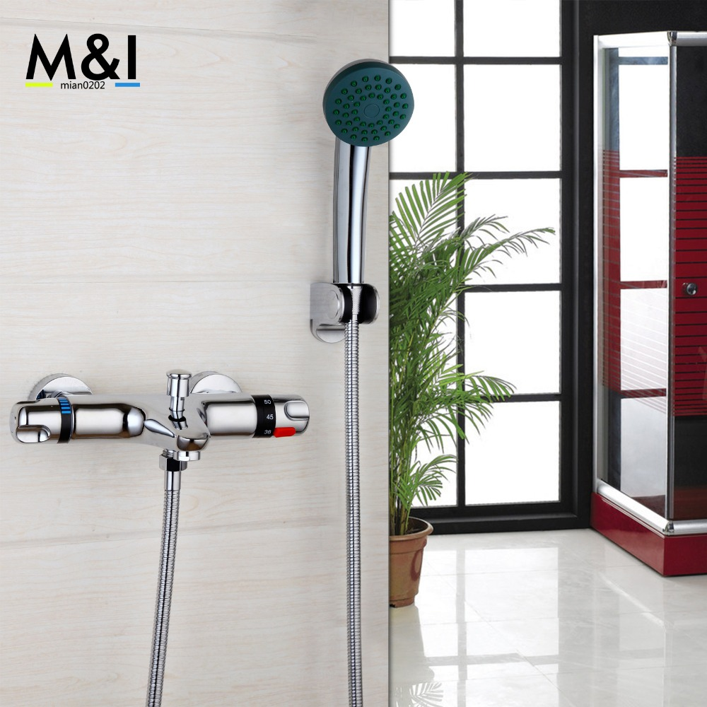 Contemporary Wall Mounted Thermostatic Faucets Polished Chrome Mixer Tap Shower Set 53932-42 Rain Bathtub Faucets Shower Set new chrome 6 rain shower faucet set valve mixer tap ceiling mounted shower set