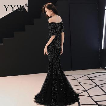 Green Leaf Sequined Off Shoulder Evening Dresses Luxury Sexy Robe De Soiree Long Mermaid Party Dress Elegant Cocktail Clubwear 3