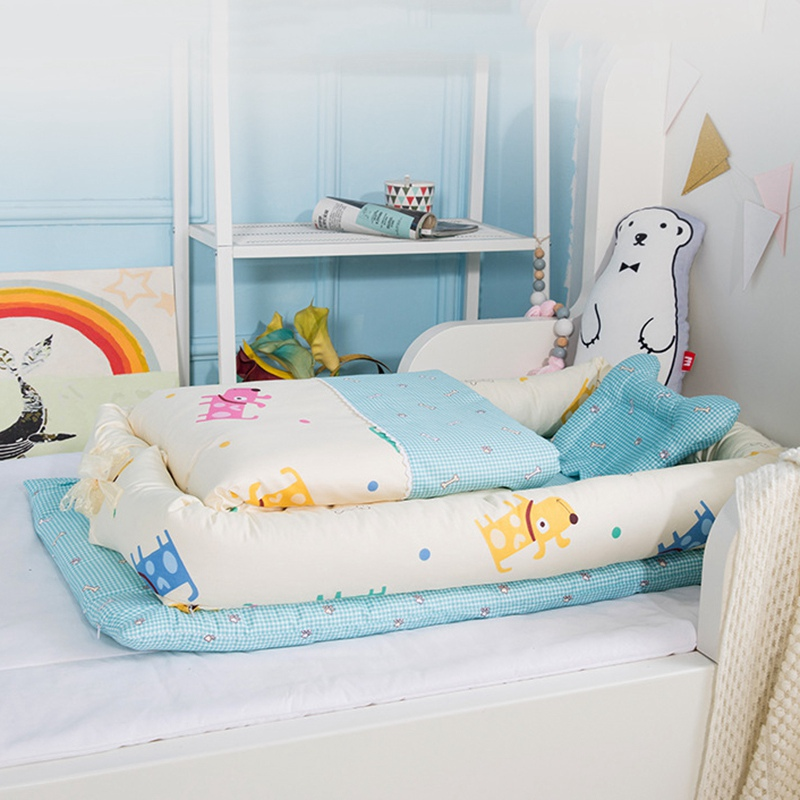 все цены на Infant Baby Bumper Newborn Crib Bedding Set Nursery Foldable Basket Sleeping Crib Travel Bed Folding Bumper with Cot Mattress