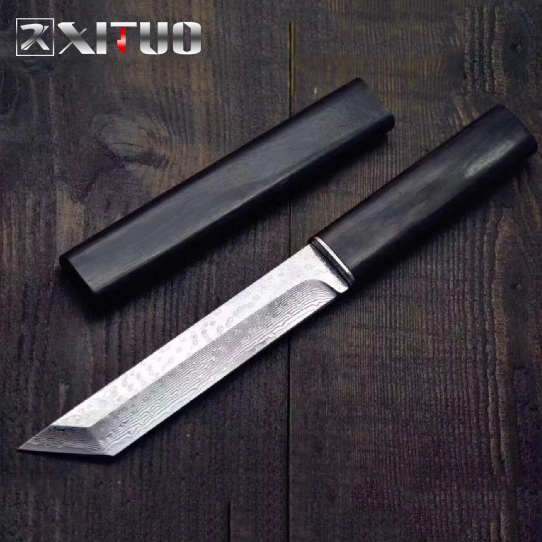 XITUO Damascus Steel Paring Knife VG10 Household Kitchen Cleaver Knife Outdoor Survival Knife Japanese Samurai Style K Sheath 1