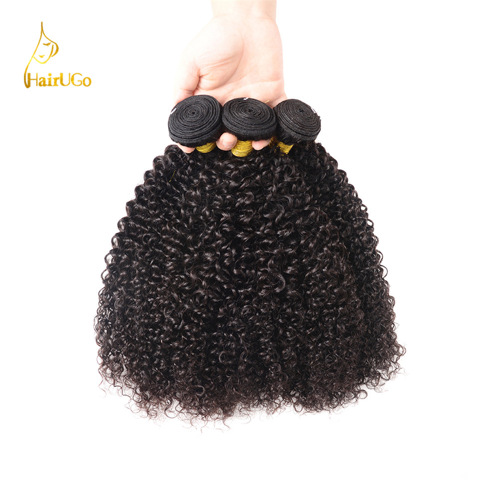 HairUGo Hair Pre-colored Malaysian 3PCS Kinky Curly Weave Onda de - Cabello humano (negro)