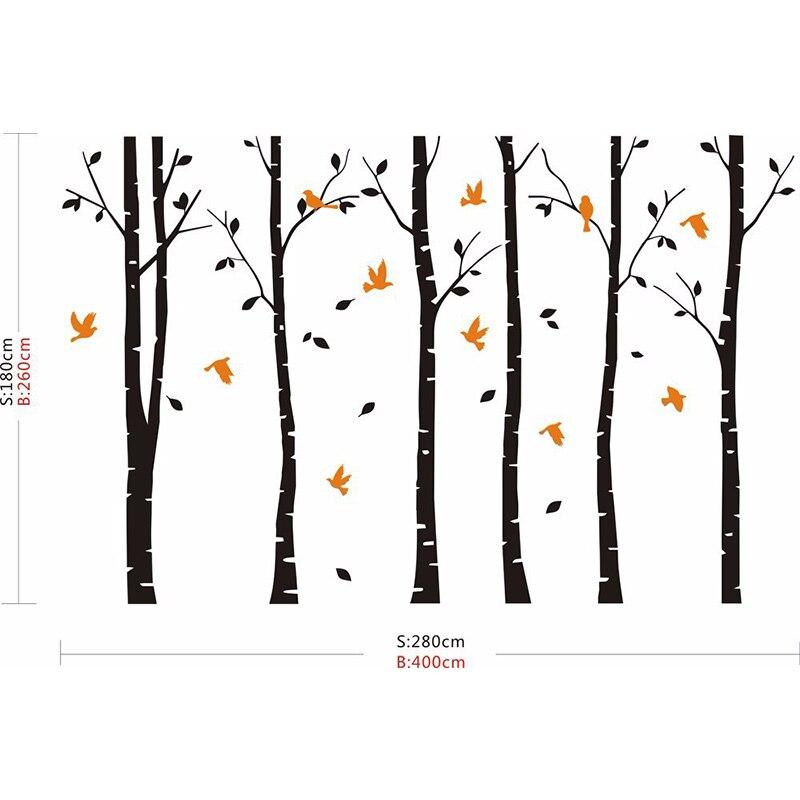 SIA 2017 nouveau grand vinyle noir café brun blanc 4 couleurs bouleau arbre stickers oiseaux vinyle Sticker mural décor à la maison - 2