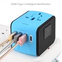 New Universal Travel Adapter AC Power US Euro UK AU International Adaptor 3 USB+1Type C World Worldwide USB Plug