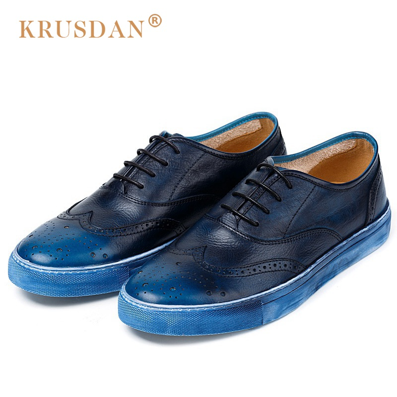 KRUSDAN New Vintage Flat Platform Man Brogue Shoes Genuine Leather Cow Oxfords Round Toe Lace up Men's Handmade Footwear NK38