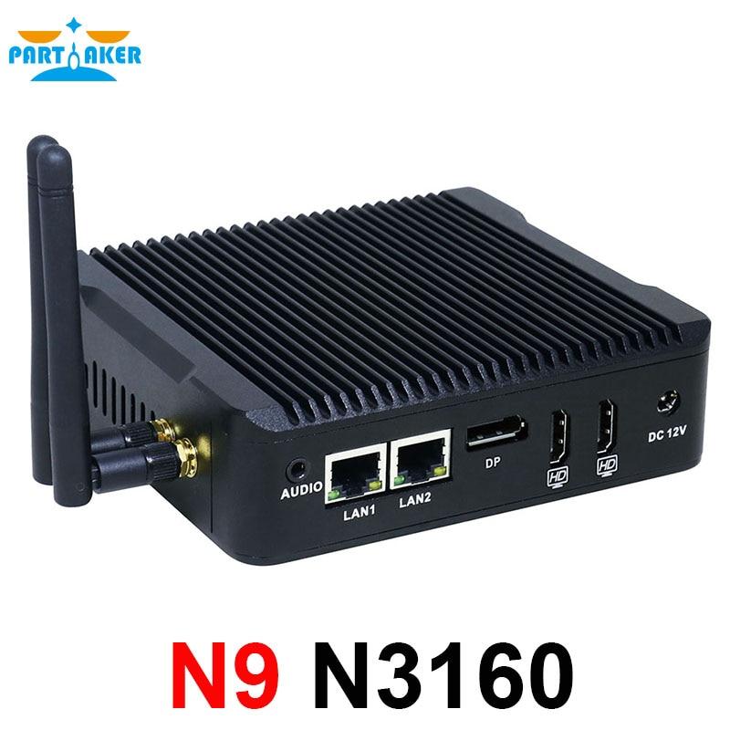 Mini Pc With Intel Celeron N3160 Quad Core 1.6GHz Dual Lan 2*HDMI 1*DP 6*USB X86 Single Board Computer For Office