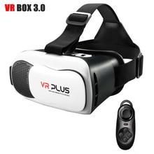 CAJA 3.0 VR VR Más Gafas de Realidad Virtual 3D Casco de Lente de Cristal de Recubrimiento Gafas de sol Auriculares para 4-6.5 ón '+ Bluetooth remoto