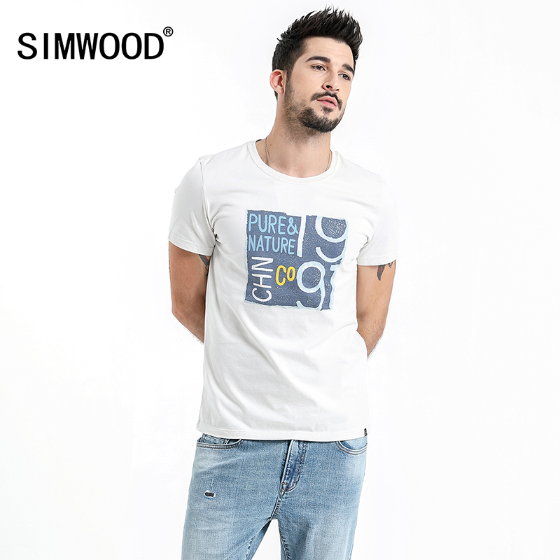 SIMWOOD 2019 Prints   T     Shirt   Men Slim Fit Fashion 100% Cotton Crew Neck Short Sleeve Tshirt Summer New Plus Size Tops 180014