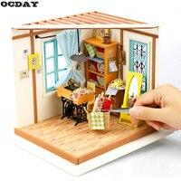 OCDAY 3D FAI DA TE Fatti A Mano Modello di Casa di Bambola In Miniatura Casa Delle Bambole In Legno Parapolvere Asembly Kit Artigianale Di Puzzle Giocattoli per I Bambini Regali