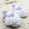 2015 Fashion White Lace Flower Baby Shoes First Walkers Newborn Soft Sole Crib Shoes Infants Girls Princess Shoes
