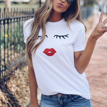 Pretty And Cute Eye Lashes Red Lips Print Women T shirt Summer Casual Short Sleeve O Neck T-shirt Ladies White Tshirt Tops Tee