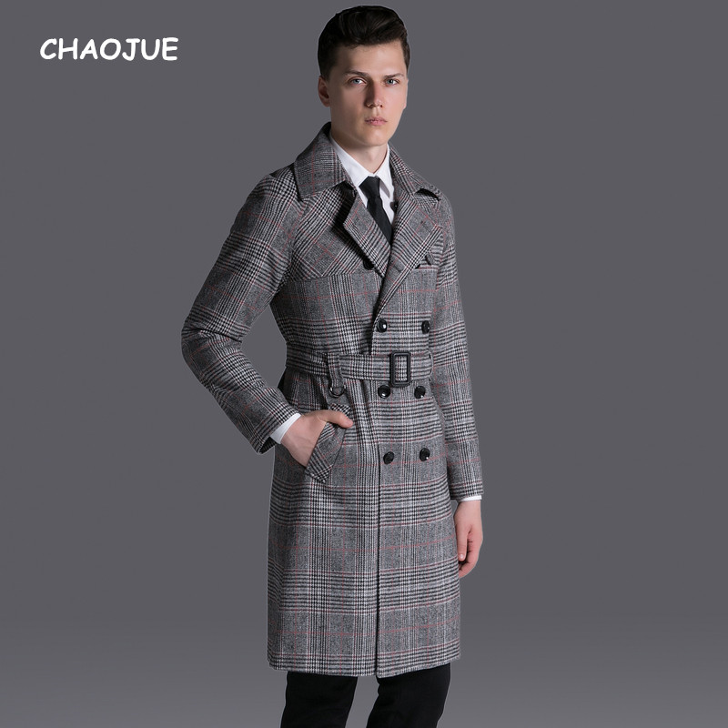 CHAOJUE Brand Vintage Plaid Trench Long 2017 Mens Causal Double Breasted Retro Grid Coat Male S-6XL Raglan Sleeve Pea Coat