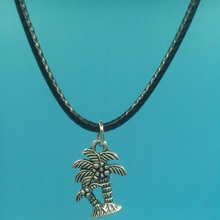 13x19 mm Coconut Tree Pendant Necklace With 45cm Leather Chain Choker Collar Vintage Silver Jewelry Women Men Christmas Gift