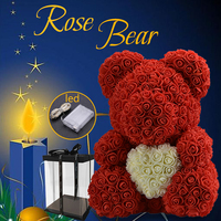 WR 2019 New Arrive Wedding Flower With LED Rose Bear With Heart Valentines Decoration Special Gift For Valentine's Day