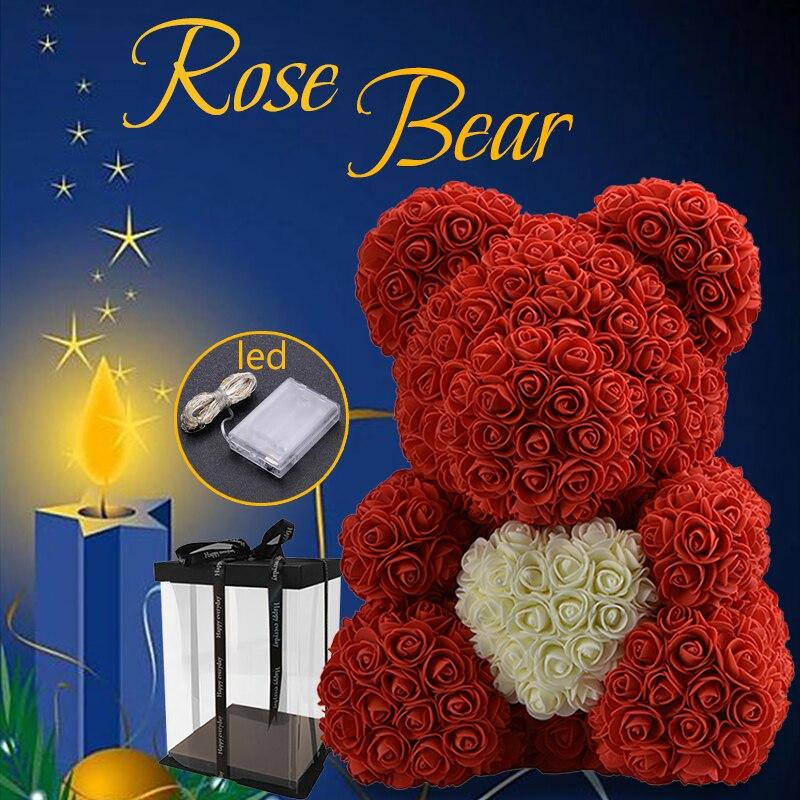 WR 2019 nueva llegada flor de la boda con LED oso con corazón San Valentín decoración especial de San Valentín regalo para San Valentín día