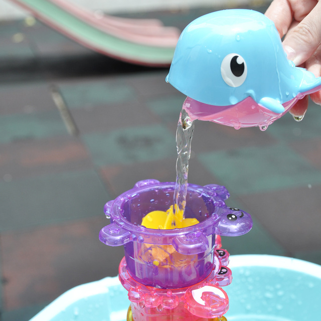 5pcs/Set Animal Bath Toy Kids Whale Stacking Cup Early Education Baby Shower Water Toy in Bathroom Tortoise Crab Fish Frog D54