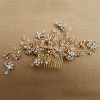 Handmade Crystal Bridal Hair Vine Gold Comb Flower Tiara Wedding Headpiece Vintage Accessories
