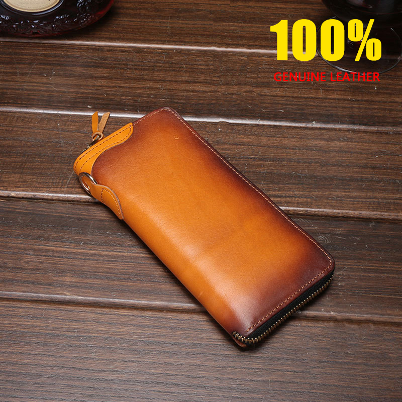CHARA 39 S high quality crazy horse leather wallet men women 100 Genuine Leather Cow Leather Money Clips Business men s Clutch in Money Clips from Luggage amp Bags