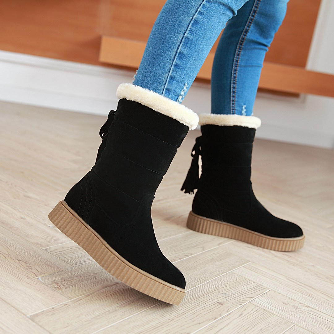 NEMAONE Women winter snow boots warm short plush ankle boots for women Round Toe winter shoes student footwear 2