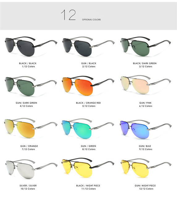 Aluminum polarized driving sunglasses
