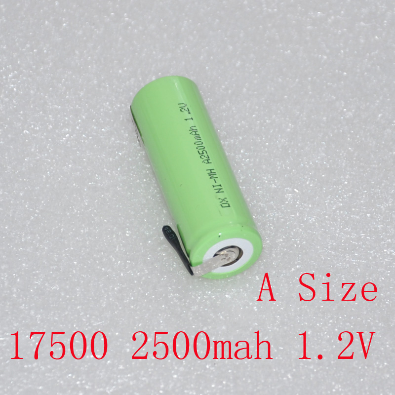 1.2V 17500 rechargeable battery 2500mah SIZE A ni-mh cell with welding pins for Braun Oral-B ProCare Triumph Toothbrush shaver