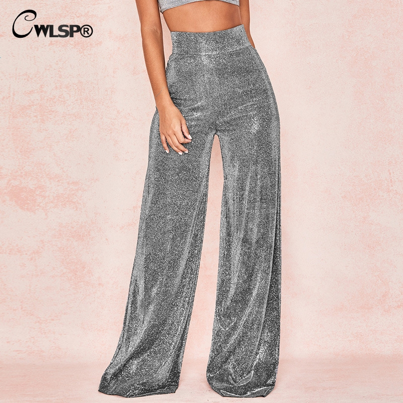 CWLSP 2018 Fashion Sequin Shining High Waist Women   Pants   Streetwear Trousers Elegant   Wide     Leg     Pants   Party Clothes QA2829