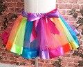 Princess Birthday Party Tutu Pettiskirt Kids Baby Ribbon Flully Rainbow Tutu Skirt