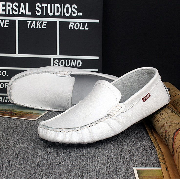 Peas Shoes White Leather Driving Men New Boat Mocassins Soft Loafers Business Casual - Online Store 923589 store