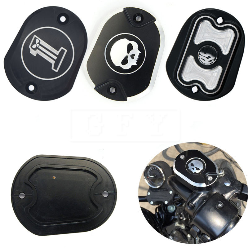 Мотоцикл с ЧПУ черный череп главный тормозной цилиндр Крышка для Harley 883 1200 XL в 2005-2014 Sporster XL883 XL1200 железа 48 72