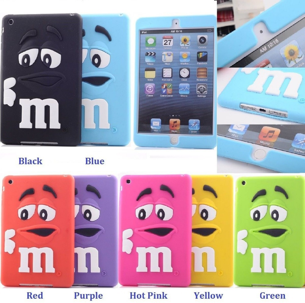 iPad 2 3 4 3D Cute M&M'S Fragrance Chocolate Candies Soft Silicone Case Cover M Rainbow Beans 2/3/4 - Shenzhen GenaTX Technology Co., LTD store