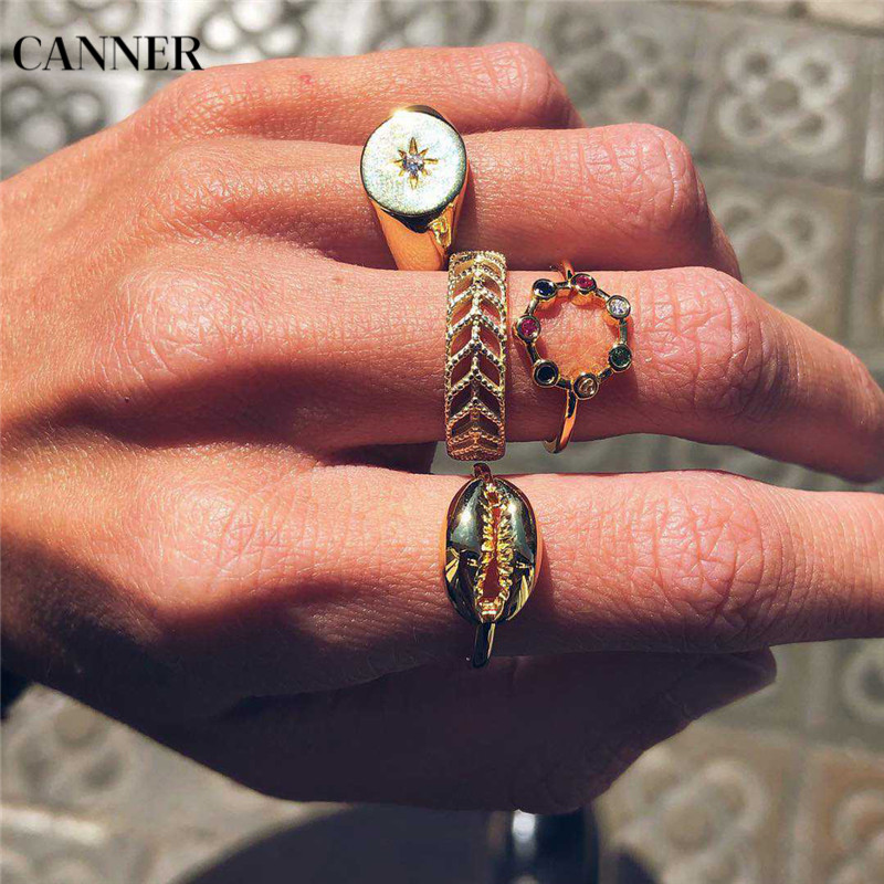 Canner 4pcs/set Colorful Rhinestone Shell Ring For Women Bohemian Finger Gold Rings Wedding Band Midi Knuckle Set W4