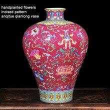 Antique Royal Vase Qing Dynasty Jingdezhen Ceramic Vase  Top Class Meiping Enamel Porcelain Flower Receptacle Classic Vase