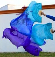 2016 High Selling 100 Real Silk Veils 1 Pair Handmade Women Quality Silk Belly Dance Fan