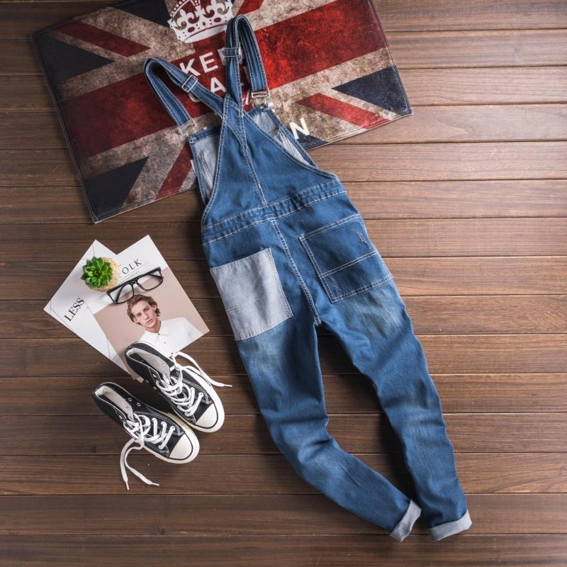 Fashion Style Men\`s Jeans Jumpsuit With Multi-pockets Blue Slim Fit Casual Streetwear Jumpsuit For Male Suspender Size S-3XL (2)