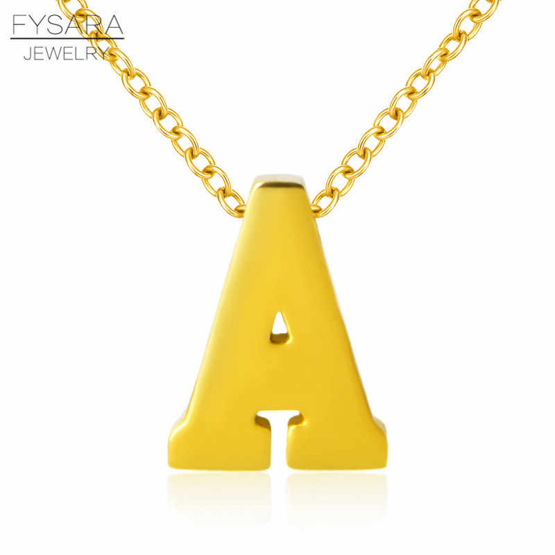 FYSARA Stainless Steel Initial Alphabet Necklace Pendant C T V Letter Tiny Short Love Necklace For Women Couple Clavicle Jewelry