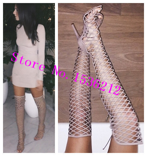 Online Shop Gladiator Over Knee High Boots Cutouts Open Toe High ...