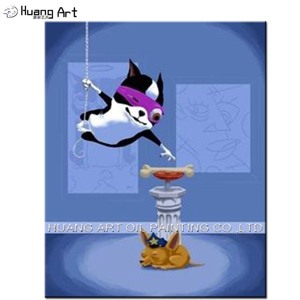 Peint à la main paysage peinture à l'huile sur toile one-eyed chien voler os peinture décor à la maison peintures drôles pour salon décor