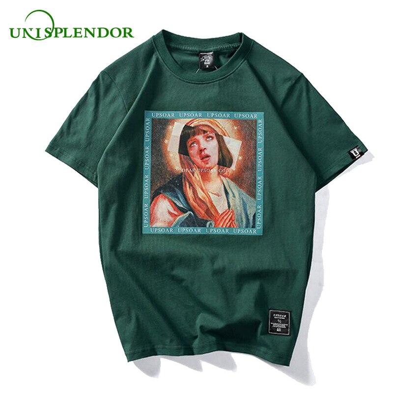 Unisplendor 2018 Virgin Mary 100%Cotton Men's T-Shirts Summer Hip Hop Tees Printed Short Sleeve Tshirts Boy Casual Tops YY167