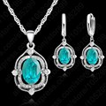PATICO High Quality Nice 925 Sterling Silver Austrian Crystal Necklace Earring Fashion Woman Wedding Engagement Jewelry Set