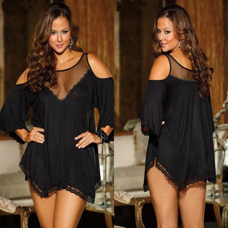 Hot Womens langerie Off-Shoulder Fifth Sleeve Loose Casual Sexy Lingerie erotic nightdress Plus Size Sleepwear Women negligee
