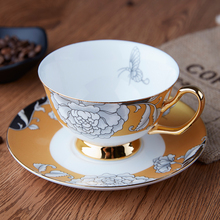 luxury tea cup set  bone china Porcelain cups and saucers spoon design tazas de cafe espresso Afternoon party