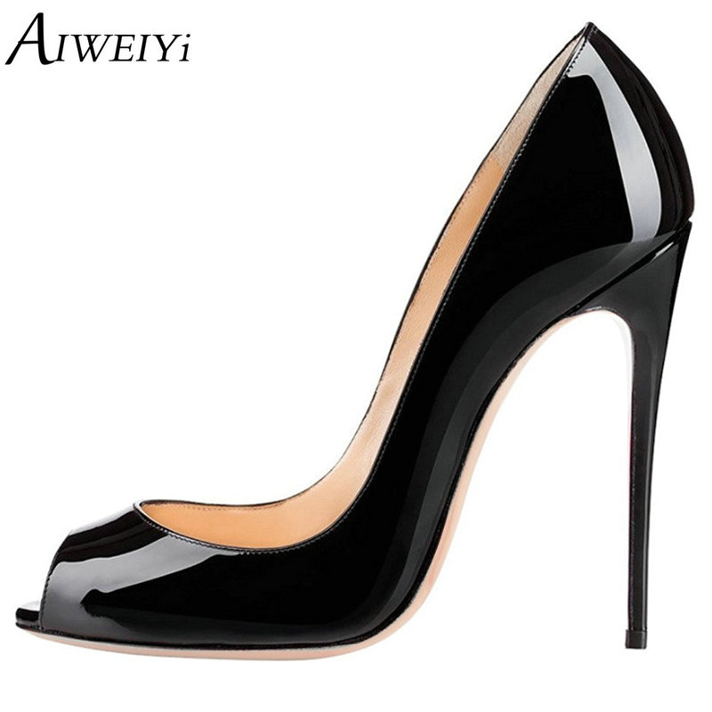 AIWEIYi Patent Leather High Heels for Women Open toe Slip On Platform Pumps Black Red Stiletto Shoes Dress Party Pumps Shoes цены онлайн