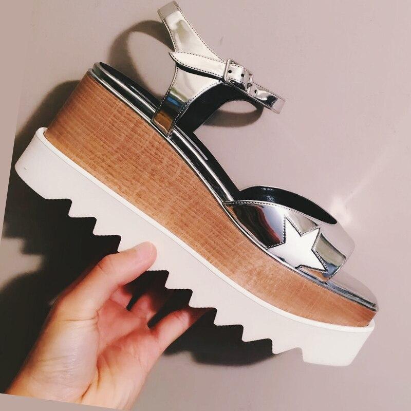ФОТО Krazing Pot 2017 fashion brand summer shoes genuine leather high heels peep toe runway platform slingback star women sandals 70