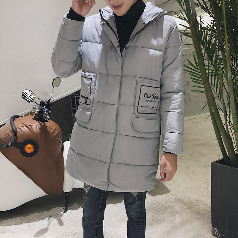 2017 Winter In The Long Section Of The Cotton Men Korean Version Of The Loose Hong Wind Thickening Of Large Yards Of Clothing sky blue cloud removable hat in the long section of cotton clothing 2017 winter new woman