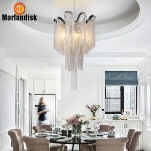 Image 4 - Modern Aluminum Pendant Lamp Luxury Aluminum Chains E14 Base Indoor Hanging Light For Bar Dining Room Living Room Bedroom(DQ 50)