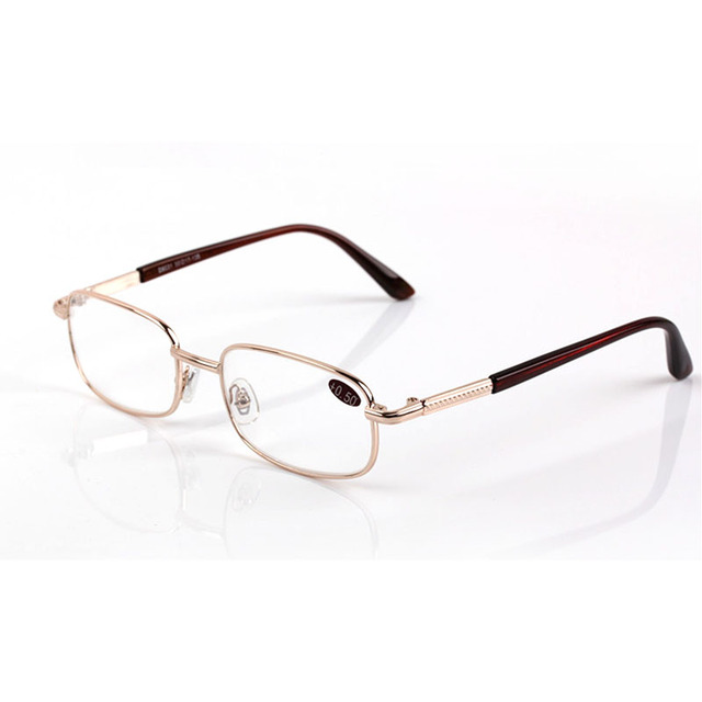 Men Women Ultra-light Mental Full Frame Reading Glasses Gloden Glass Lens Hyperopia Eyewear 50 to 600 R167