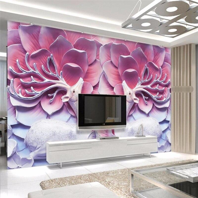 beibehang art background photo Deer pink flower modern relief TV ...