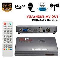Numérique HDMI DVB-T T2 dvbt2 TV Boîte VGA AV CVBS TV Récepteur convertisseur avec USB dvb-t2 Tuner pour Mpeg 4 H.264 Avec Télécommande