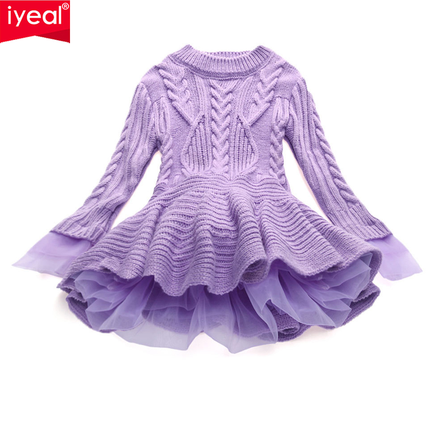IYEAL New Princess Girls Dress Knitted Chiffon Spring Kids Baby Clothes Thick Warm Children Girl Christmas Wedding Party Dresses vidmid girl dress christmas wedding party dresses knitted chiffon winter kids girls long sleeve children clothes girl dress 4001