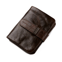 Luxury Vintage Casual 100 Genuine Cowhide Oil Wax Leather Men Wallets Short Bifold Wallet Coin Pocket
